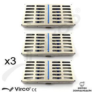 3X Sterilization Cassette Rack Tray Hold 7 Dental Surgical Instruments Autoclave