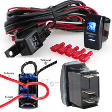12V On/Off 5 pins Blue Interior Light Rocker Switch Kit with Relay Wiring Harnes