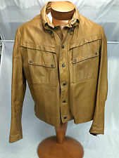 * BROOKS * Detroit Vintage Gold Label Leather Jacket Mod Talon Zipper Tan 42*