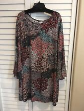 MSK Woman's Plus Size 1X Denim Blue / Peach Multi Bell Sleeve Dress NWT