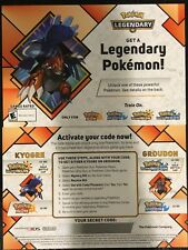 GameStop Pokemon LVL 100 Kyogre Groudon Ultra Sun Moon 2018 Event Card W/ Code