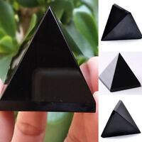 Natural Obsidian Pyramid Crystal Black Polished Mineral Reiki Healing Stone 40mm