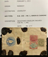 1913 Mannady India Registered Cover To Udamalpet Wax Seal Sg#136