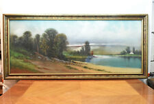 Vintage Antique C.A. Reiner Pastel Lake House Drawing Painting Picture Signed