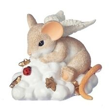 New Charming Tails Mouse Figurine On Cloud Nine Angel Mice Statue Gold Stars