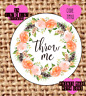 Throw me , wedding confetti stickers , labels , party , floral TM10