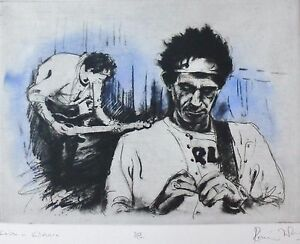 RONNIE WOOD KEITH (Richards) IN KILLDARE 1994 Etching HAND SIGNED ROLLING STONES