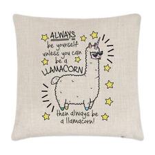 Always Be Yourself Llamacorn Lino Funda de Cojín Almohada - Unicornio Llama