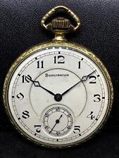 Gold Filed Strata Case 21j,Double Roller, Burlington Watch Co. Pocket Watch 14K