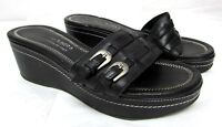 Donald J. Pliner women's size 8 M black slides sandals leather Med heel