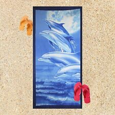 Beach Towel for Kids, Blue Jumping Dolphins, Quick Dry Absorbent Towels, 6 Ft