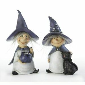 "Set/2 5"" Cute Witch Cauldron Black Cat Figurine Doll Retro Halloween Decor"