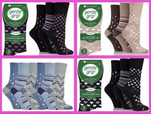 Ladies 3 or 6 Bamboo Honeycomb Top Gentle Grip Socks - Assorted Designs Size 4-8