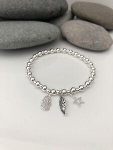 Hamsa Bracelet. Angel Wing Bracelet. Silver Beaded Bracelet. Hamsa Hand Bracelet