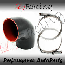 "BLACK Elbow 3"" 76mm 4-ply Silicone Coupler Hose Turbo Intake Intercooler SB SC"