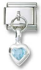 Italian Charm 925 Sterling Birthstone Heart Dangle CZ March Stainless Steel Link