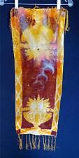 "Antique Victorian Tie Dye Velvet Table Linen With Silk Fringe 34""L x 12 1/2""W"