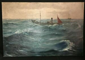 Hans Eriksen (1912-1982): Fishing Trawlers In Rough Seas - Seascape Oil Painting