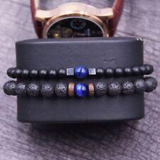 Ensemble de 2 bracelets Homme Pierres Naturelles ŒIL de Tigre bleu lave onyx