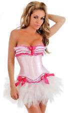 Womens White and Pink Corset Burlesque Fancy Dress Costume Size 6-8