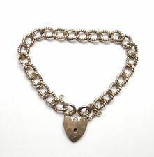 Vintage London 1975 925 Silver Rope Patterned Link Starter Charm Bracelet 21.4g