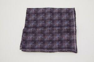 NWT Brunello Cucinelli Men's Linen-Cotton Checkered+Floral Print Pocket Sq. A196