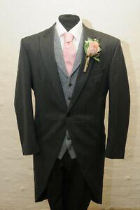 MEN'S GREY HERRINGBONE TWO PIECE TAILCOAT SUIT ASCOT/WEDDING/TAILS MJ-204A