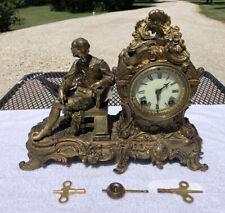 1890's Antique Ansonia Metal Figurine Mantel Shelf Clock Working Beautifully