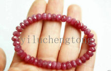 """Ruby Jade Beads stretchy Bracelet 7.5"""" 1pcs Handmade 5x8mm Faceted Natural Red"""