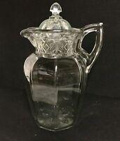 Antique Glass Water Pitcher Ice Lip & Glass Lid Flower Diamond  Pattern Lemonade