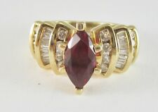 LADIES 14K YELLOW GOLD MARQUISE CUT LAB CREATED RUBY & DIAMOND RING 5.8G