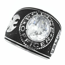 POLICE OFFICER CLEAR STONE SILVER SS RING SIZE 8 9 10 11 12 13 14