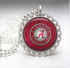 Alabama Crimson Tide Silver Bottle Cap Pendant Necklace