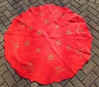 """Vtg Handmade Felt Christmas Tree Skirt Applique Reindeer Snowflake Glitter 48"""""""