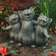 """Singing Cats Garden Statue Kitten Sculpture Figure Outdoor Lawn Accent Decor 15"""""""