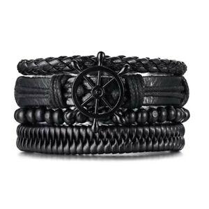 Mens 4 Piece Ships Wheel Hand Made Leather Friendship Bracelet set New in Bag
