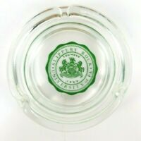 "Slippery Rock University of Pennsylvania Ashtray Clear Glass w/ Green Logo 4.25"""