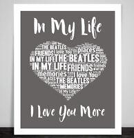 The Beatles In My Life Love Song Music Lyrics Print Heart Art Wedding Dance