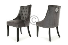Kensington Dining Chair Deep Grey Velvet Lion Knocker Stud Detail Free Delivery