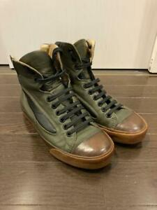 DIOR HOMME Leather High-top sneakers Shoes 41 Olive Auth Men Used from Japan