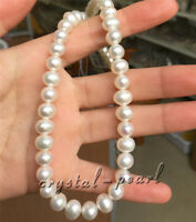 "Natural pearl necklace AAA 9-10 mm white pearl Necklace 18"" 14k clasp"