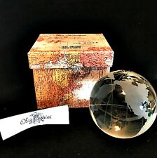Oleg Cassini World Globe Paperweight Crystal Sphere Map in Gift Box 136761MX