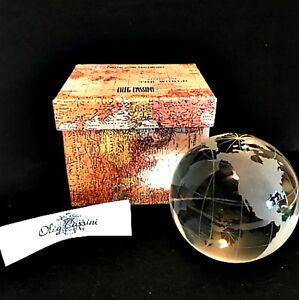 Oleg Cassini World Globe Paperweight Crystal Sphere Map in Gift Box 136761MX