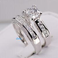Sterling Silver 14k White Gold Princess Diamond Cut Engagement Ring Wedding Set