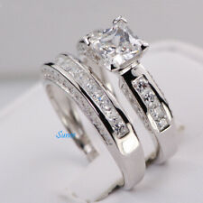 Sterling Silver 14k White Gold Princess Cut Wedding Engagement Ring Set