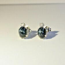 Earrings Solid 925 Sterling Silver Genuine Blue Star Sapphire Stud