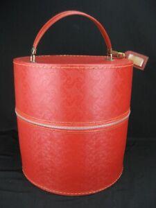 Vintage Mid-Century Red Zippered Travel Wig Hat Box Case w/ Styrofoam Head