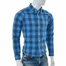 Hollister Mens Slim Fit Button Down Shirt Long Sleeves Blue Checked Tops S Small