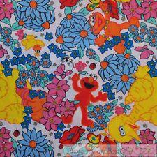 BonEful Fabric FQ Cotton Quilt VTG Color Flower Elmo Big Bird Zoe Sesame Street