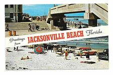 (E) Greetings From Jacksonville Beach, Florida Old 1950's Cars on Beach